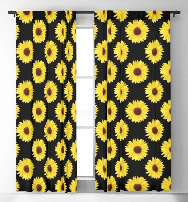Offset pattern sunflower curtains