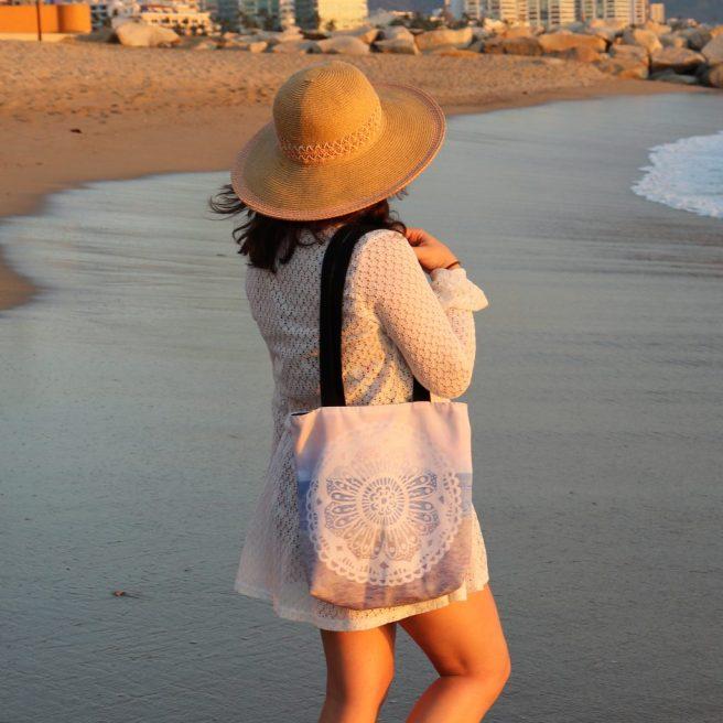 sunset beach mandalas tote bags