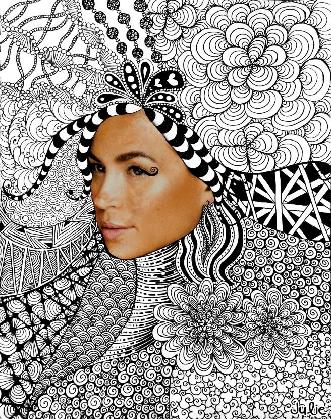 zentangle face art drawing collage magazine woman