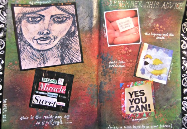 help from friends art journal