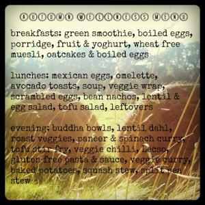 autumn wellness veggetarian menu