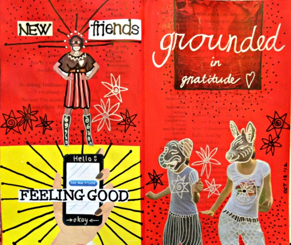 new friends art journal spread
