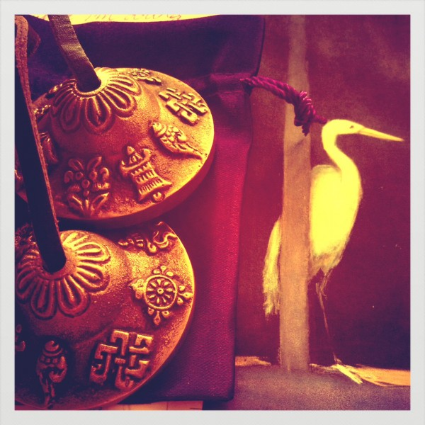 tibetan bells with crane image