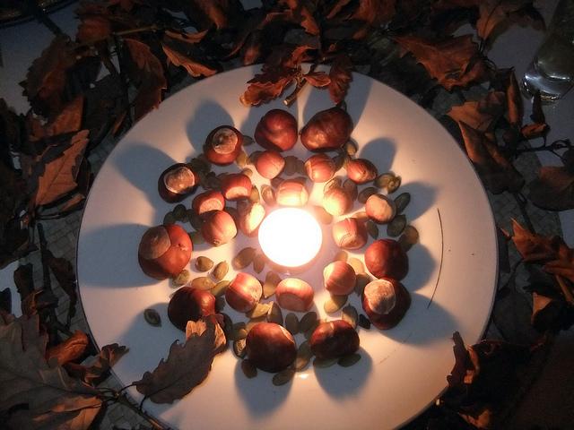 Natural mandala decorations for Hallowe'en and Samhain