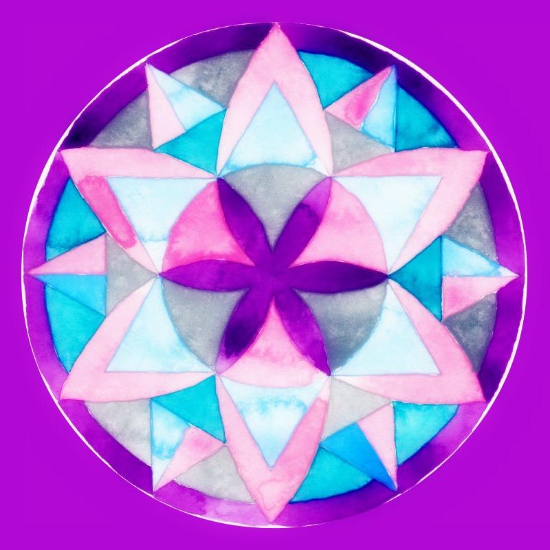 watercolour mandala in six Image
