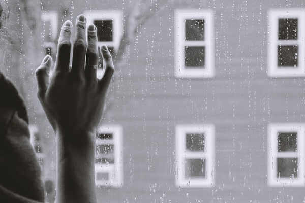 Hand on window image