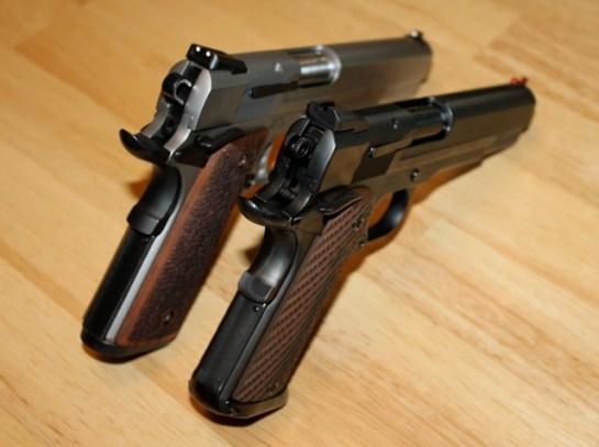 S&W Pro Series 9mm 1911 - Stock Stainless & Pete Single Custom, Ion Bond Black