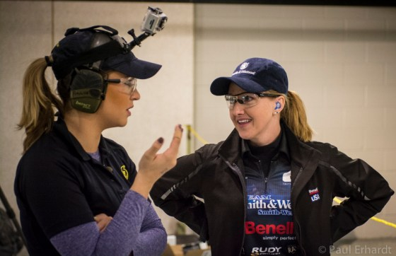 Katie Pavlich and I discuss stage strategy at the 2014 Smith & Wesson IDPA Indoor National Championships. Photo courtesy of Paul Erhardt.