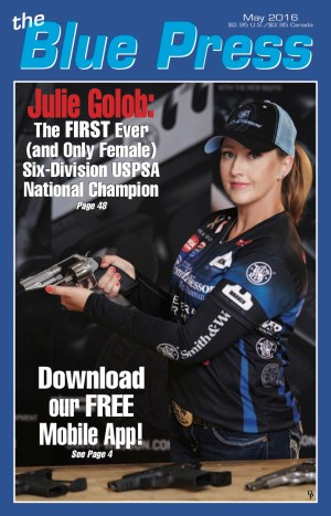Julie Golob on the cover of May 2016 Blue Press