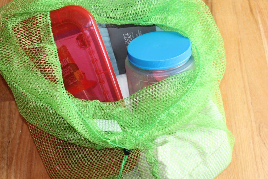 Bins inside the DIY Fort in a Bag