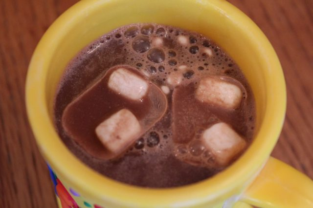 Hot chocolate with hot chocolate and marshmallow ice cubes