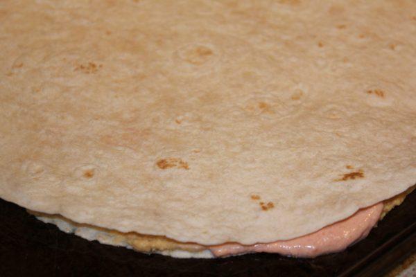 Lay down a tortilla.