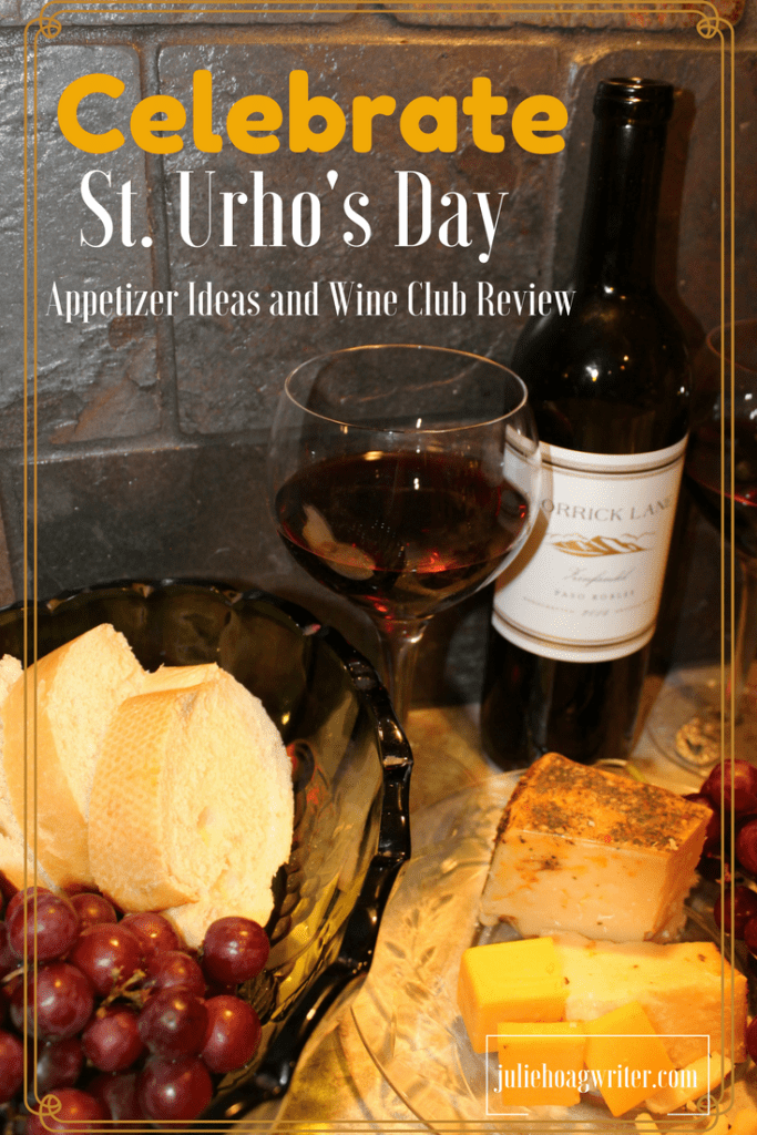 Celebrate St. Urho's Day with a Sensational Endorsed Wine Club Review and appetizers for the whole family including red grapes, Mediterranean Parmesan cheese, Wisconsin Cheddar Cheese, French Bread, and cucmber cheese appetizers.