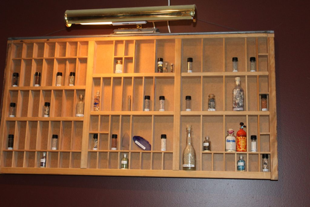 Shadow Box with Vials of sand, soil, shells, rocks Family Trip Souvenir Collection
