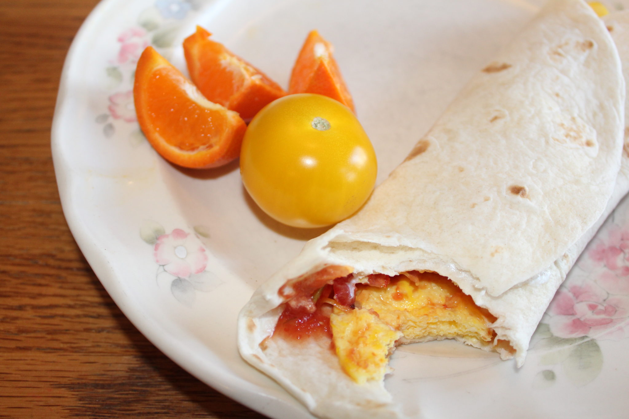 Simple Quick Easy 7 Ones Egg Burrito recipe. 7 ingredients all in increments of 1. Cook 1 minute. Makes 1 burrito.