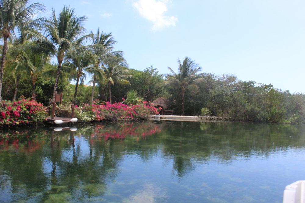 Waterway view from pontoon ride at Palladium resort in Riviera Maya, Mexico