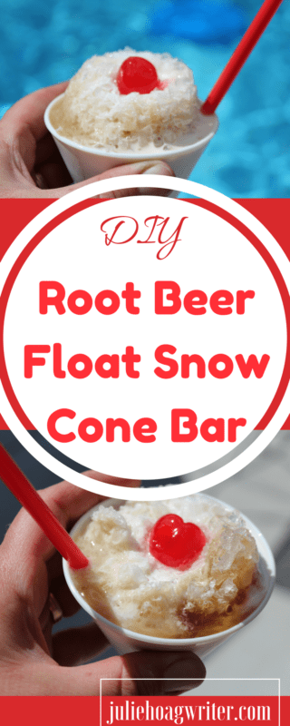 DIY Root Beer Float Snow Cone Bar. Non-alcoholic. snow cones | snow cones stand | snow cones bar | snow cone bar ideas | snow cone bar summer | summer treats | summer treats for kids | summer treats for family | summer treats desserts | family | family treats | family time | family time ideas | family time activities | kids and family | family fun | family fun activites | ad