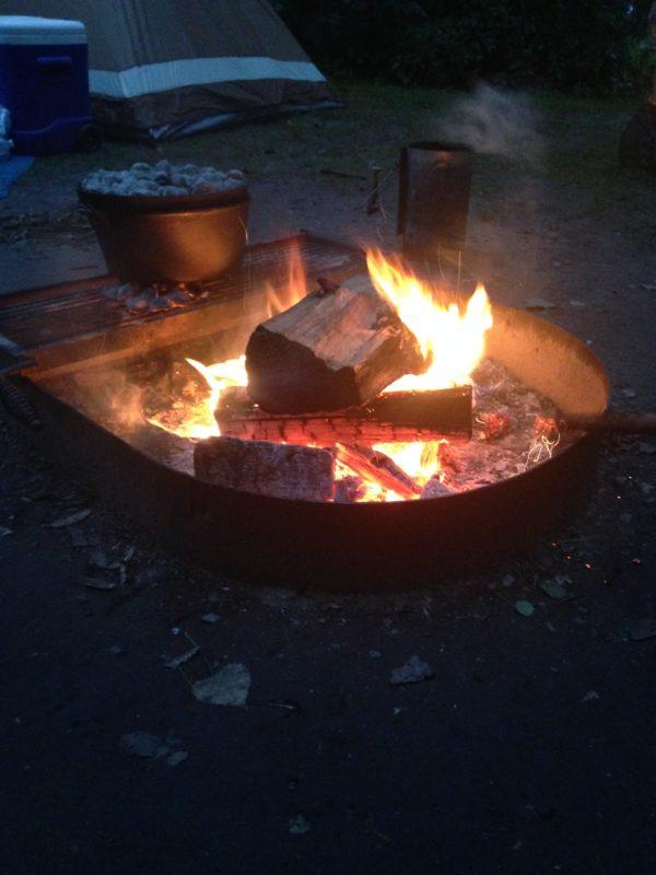 Dutch oven on bonfire pit for Onion Soup mix potatoes...so YUM!