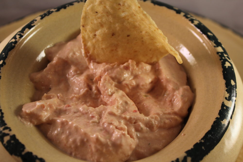 Easy 5-minute 2 ingredient Tomatoes & chilis Cheese dip