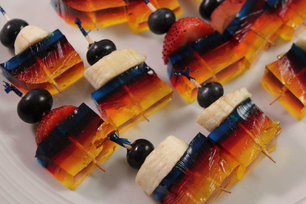 Fruit Jello Kabobs using fruit and Multi-Layered Jello