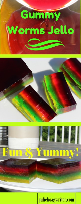 Fun Yummy Gummy Worms Jello Recipe. jello recipes | jello bars kids | jello treat ideas | gummy worms | gummy worms recipe | easy jello recipes | easy jello desserts | simple jello reicpes | simple jello desserts | desserts for a crowd potlucks | recipes for kids | yummy recipes dessert | jello snack for kids | jello snack ideas @juliehoagwriter affiliate