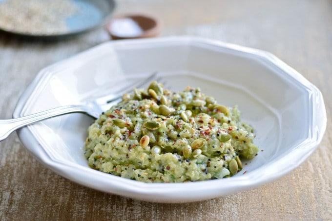 Quinoa risotto opskrift med avocado