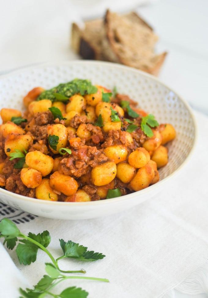 opskrift med gnocchi og oksekød
