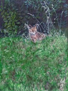 Secret World Fox   Oil on Canvas by Julie Lovelock