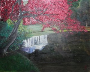 Pink Pantheon - Stourhead Reflections Series | Oil on Canvas by Julie Lovelock