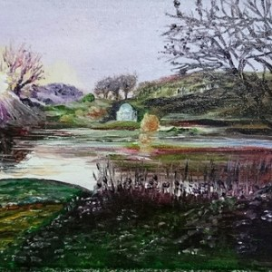 Winter Light - Stourhead Reflections Series   Oil on Canvas by Julie Lovelock