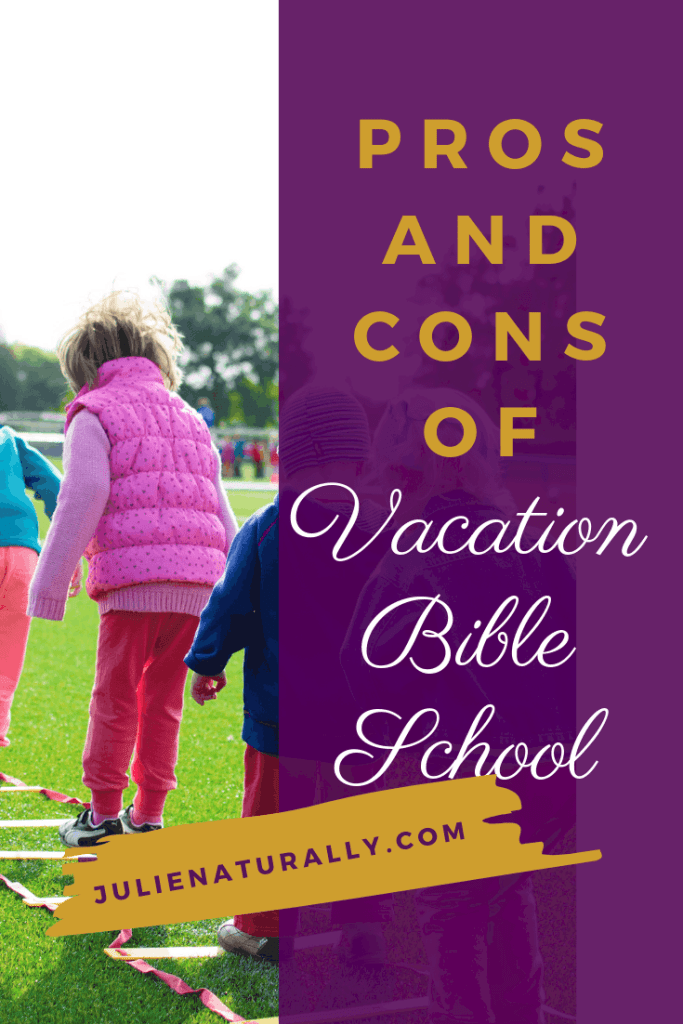 children standing in a line on the grass at Vacation Bible School