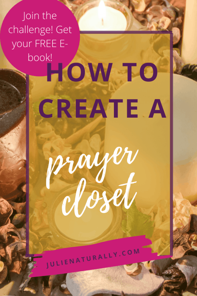 a prayer closet with assortment of lit candles, pinecones, and other dried plant material