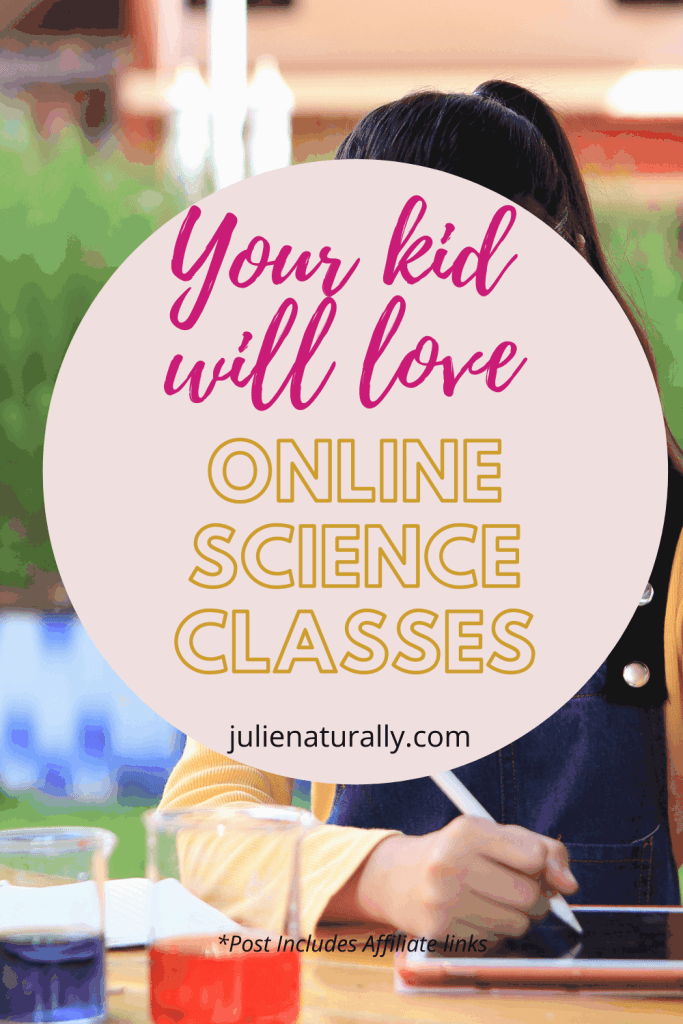 a child doing online homeschool science classes with beakers and notepad