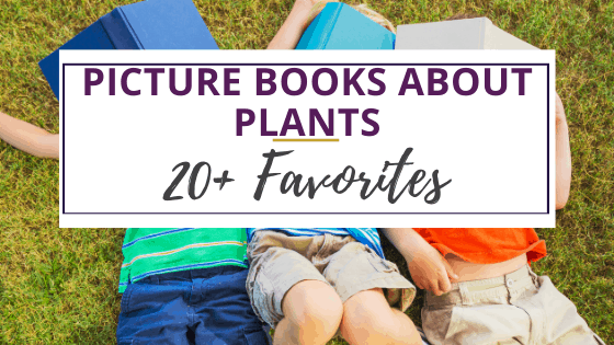 kids outdoors with picture books about plants