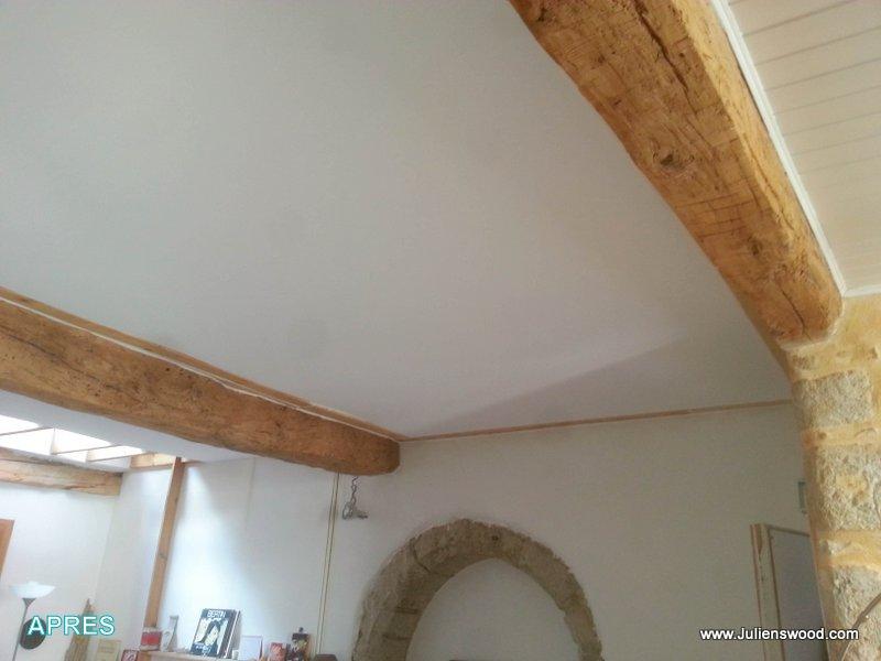 Pose d 39 un plafond tendu sous une volige bois - Plafond du livret a la poste ...