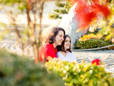 Photos de couple au jardin japonais Raphaël et Léa