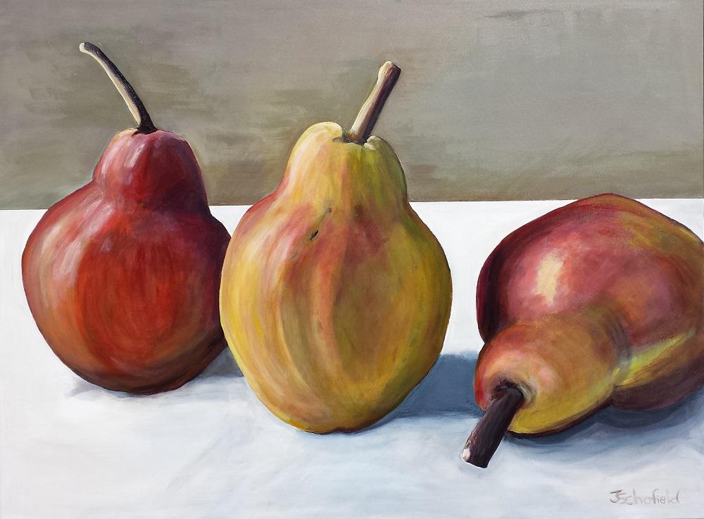 ©Julie Schofield, Golden Russet Pears, Acrylic 120 x 90cm