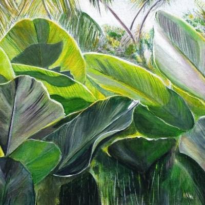 ©Julie Schofield, Shala Leaves, Acrylic, 45x91cm