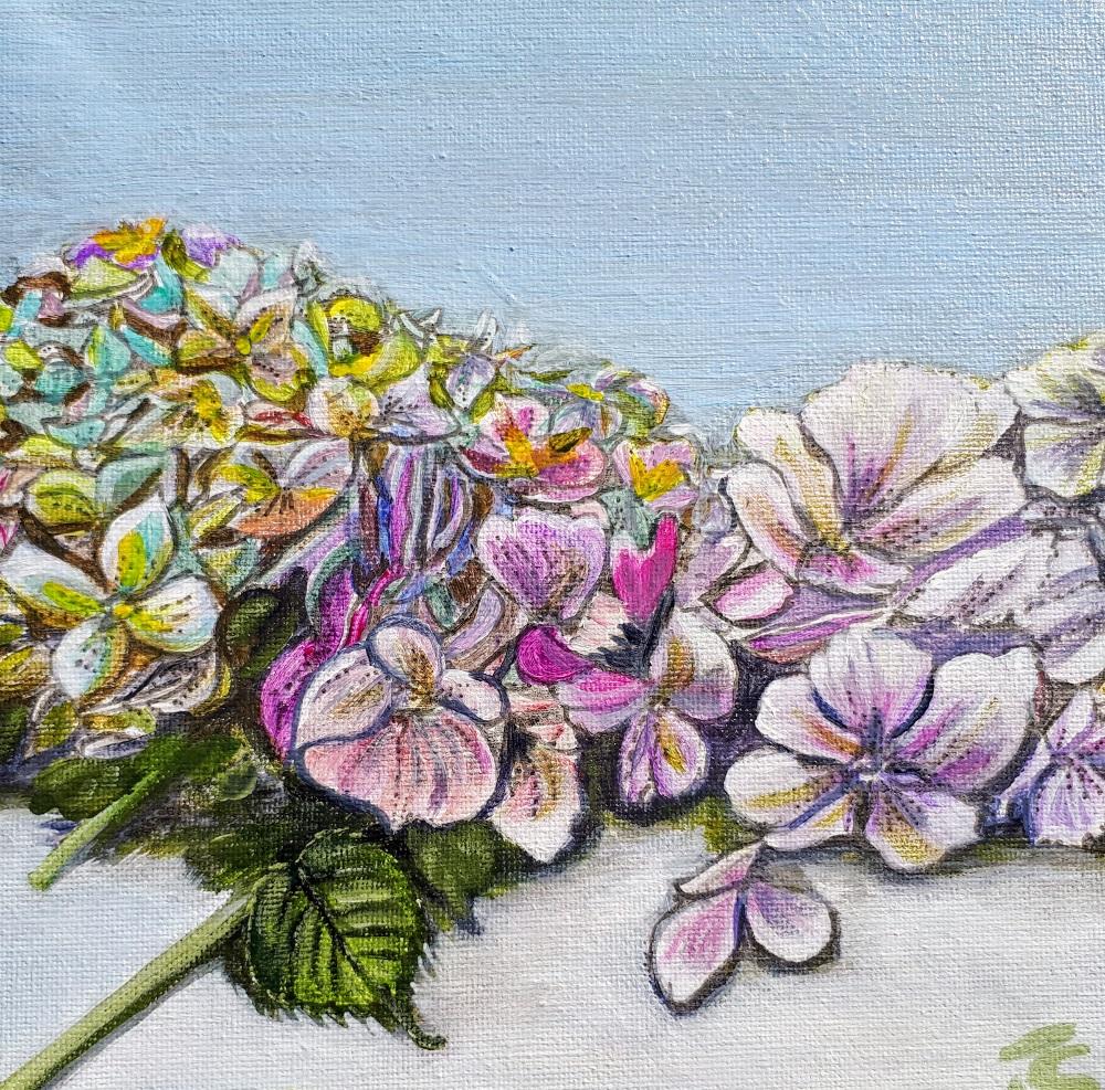 ©Julie Schofield, Bountiful Hydrangeas, Acrylic 20 x 20cm