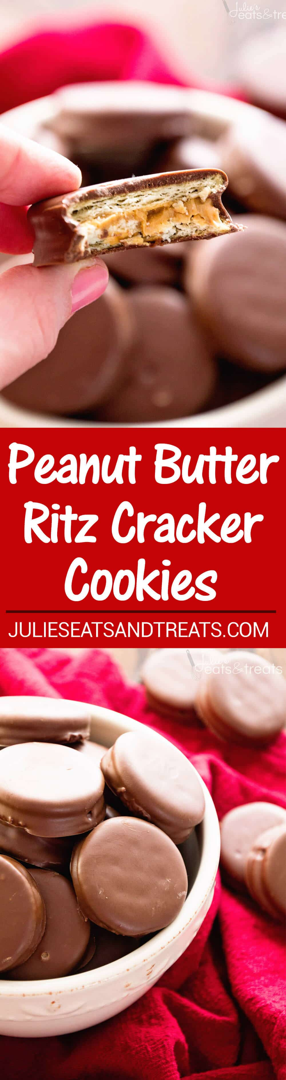 Peanut Butter Ritz Cookies ~ Our FAVORITE treats for the holidays! Easy Christmas Cookies! Chocolate Dipped Ritz Crackers Stuffed with Peanut Butter, So Easy And Delicious!