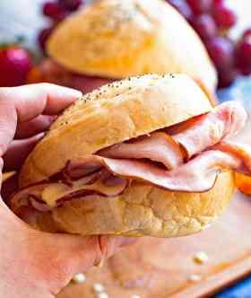 Hot Ham Cheese Sandwich in Hand