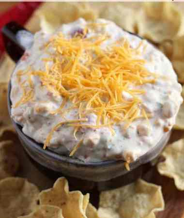 Kickin' Ranch Corn Dip ~ Easy, Creamy Dip Loaded with Ranch, Corn, Green Chilies & Cheese!