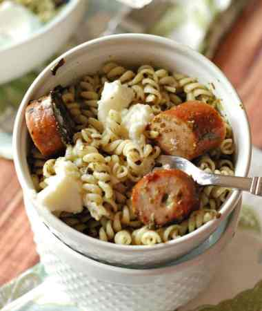 Pesto Pasta with Sausage and Ricotta