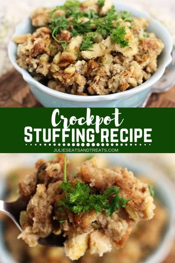 This easy Crockpot Stuffing is perfect for holidays when oven space is short! It's slow cooked while you are preparing for the holidays so you don't have to worry about it. It has an amazing flavor because of the herbs and seasonings. Plus, it's so easy and delicious. Try this Slow Cooker Stuffing for the Thanksgiving! #stuffing #crockpot