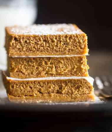 Skinny Gluten Free Pumpkin Cheesecake Bars