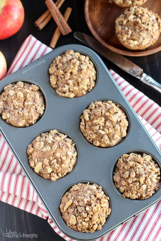 Apple Muffins Recipe baked in muffin tin on napkin