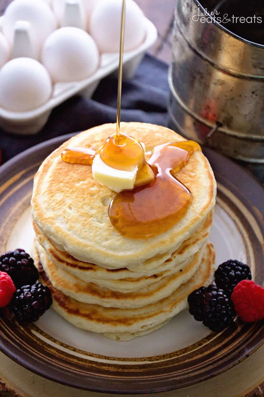 Easy Homemade Pancake Recipe ~ Light, Fluffy, Delicious Pancakes Recipe Made with Pantry Staples that You Will Have in your House! Never go back to Pancake Mix!