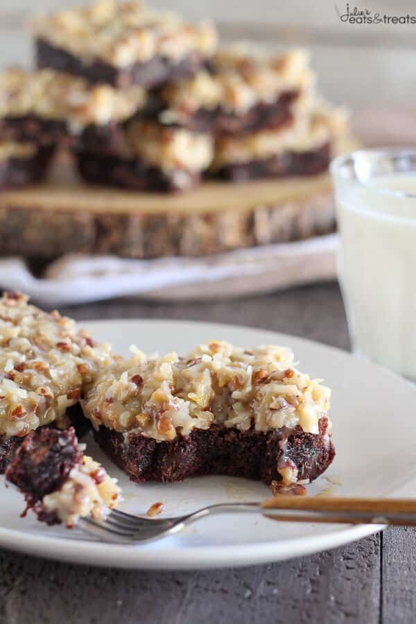 German Chocolate Brownies with bite missing
