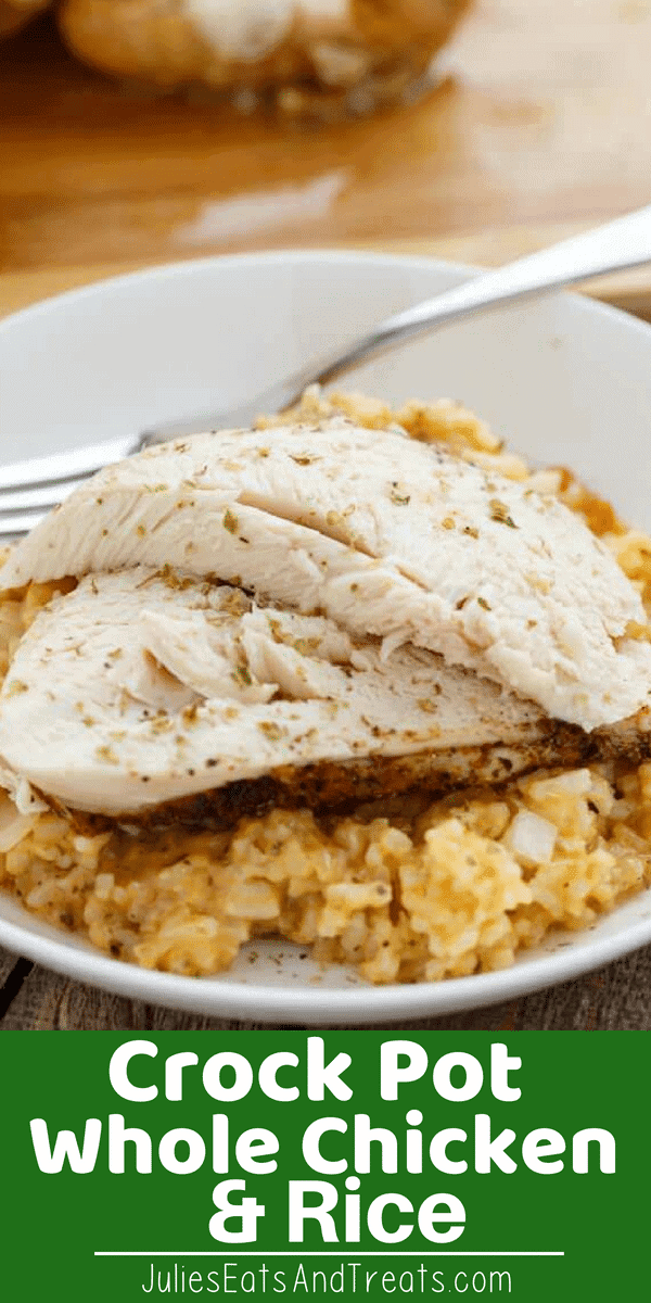Whole Chicken and Rice in the Slow Cooker Flavored with Onions and Spices! This Crock Pot Chicken and Rice Dinner is a win! You can't Go Wrong with this Meal in the Crock Pot! #crockpot #chicken #rice #recipe #wholechicken #julieseatsandtreats