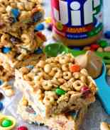 No Bake Peanut Butter Cereal Bars ~ Easy, No Bake Bars with Cheerios, Rice Krispies, M&M's, Peanuts that are Perfectly Ooey & Gooey!